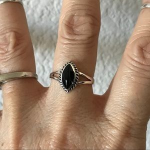Jewelry - Sterling Silver Black Onyx Ring with Braid